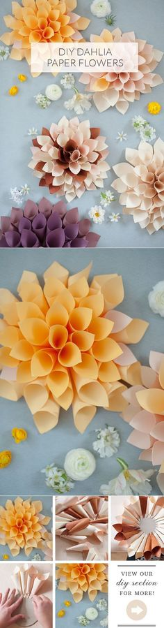 DIY paper flowers | DIY wedding decor | 100 Layer Cake Handmade Paper Flowers, Paper Flowers Wall Decor, Diy Paper Flower Backdrop, Hanging Paper Flowers, Flowers Decoration, Paper Flower Wall, Paper Dahlia, Tissue Paper Flowers, Paper Wedding Decorations