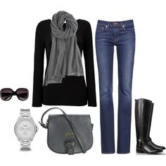 A fashion look from September 2013 featuring long-sleeve shirt, stretch jeans and black riding boots. Browse and shop related looks. Winter Outfits, Casual Outfits, Cute Outfits, Denim Outfits, Fashion Outfits, Womens Fashion, Autumn Winter Fashion, Winter Style, Fall Fashion
