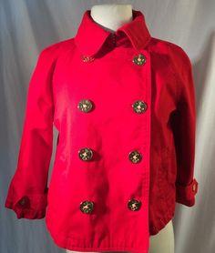 Lauren Ralph Lauren Red Double Breasted Sailor Swing Anchor Pea Coat Petite S  | eBay