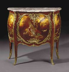 Vernis Martin, lustrous lacquer substitute widely used in the century to decorate furniture and such personal articles as brisé fans and snuffboxes. Rococo Furniture, Hand Painted Furniture, French Furniture, Miniature Furniture, Handmade Furniture, Furniture Board, Fine Furniture, Unique Furniture, Luxury Furniture