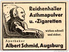 Original - Werbung/ Anzeige  1939 : REICHENHALLER ASTHMAPULVER/ ZIGARETTEN / APOTHEKER SCHMID AUGSBURG -  ca. 65 x 50 mm