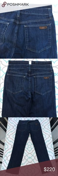 """💙👖Altered! Joe's Jeans👖💙32 13/14 29"""" Taken In 💙👖Altered! Joe's Jeans 👖💙 Size 32 (13/14). BUT altered and thus fit more like a 30 (9/10). 29"""" Inseam. Hemmed. 10"""" Rise. 15.5"""" Across Back. 20"""" Across Hips. 22"""" Across Thighs. Dark Blue Wash. Very Light Fading from wash & wear. Taken in by about 1/2"""" on each side. Will fit smaller in the waist!! I wear a size 31 and these are too small for me to button. Will probably fit an apple Bottom girl with curves and a booty best. ; ) Please See…"""