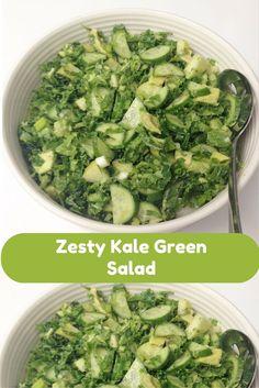 Bright and Zesty Green Kale Salad via /spoonsstilettos/