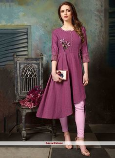 Beautiful designer readymade kurti in magenta pink color fabricated on khadi cotton. This kurti is beautiful with thread work and available in all regular sizes. Simple Kurti Designs, New Kurti Designs, Kurta Designs Women, Kurti Designs Party Wear, Stylish Dress Designs, Designs For Dresses, Stylish Dresses, Salwar Designs, Stylish Outfits
