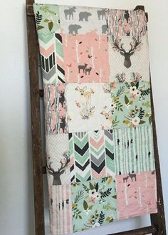 Baby Quilt Girl Deer Crib Bedding Baby Bedding Girl by CoolSpool More