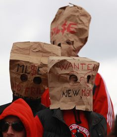 STEVE RUSSELL - Upset Toronto FC fans wear bags on their heads as Toronto FC play D.C. United at BMO Field. #sports #soccer Toronto Fc, Toronto Star, Zombie Walk, Soccer Fans, Play, Sports, Sacks, Hs Sports, Sport