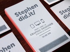 This is brilliant business card design and branding. His website address is literally Stephen Did . It  SMART!