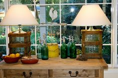 the Polished Pebble: Vintage Water Bottle Lamps Glass Water Jug, 5 Gallon Water Bottle, Water Jugs, Water Bottles, Bottled Water, Glass Bottles, Barn Light Electric, Polished Pebble, Barn Lighting