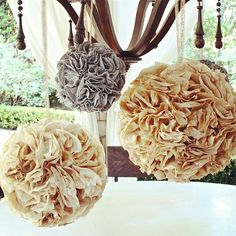 Vintage Baby Shower via Lilyshop Blog by Jessie Jane. Coffee filters glued to a lantern. Great idea!!