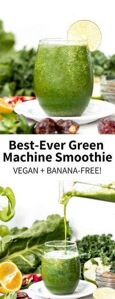 Loaded with vitamin-rich greens like kale chard and mint this naturally-sweetened banana-free smoothie is so refreshing and totally vegan! A healthy drink ready in 5 minutes you'll want to sip this every morning. Best Vegetarian Recipes, Vegan Breakfast Recipes, Dairy Free Recipes, Whole Food Recipes, Healthy Recipes, Baby Recipes, Nutribullet Recipes, Smoothie Recipes, Drink Recipes