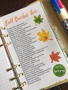 Today is officially the first day of fall no matter if the temps don't match the season. Nevertheless, what better way to get into the feel of the season then. Bullet Journal Layout, Bullet Journal Inspiration, Herbst Bucket List, Autumn Bucket List, Halloween Bucket List, Planners, Fee Du Logis, Halloween Care Packages, Bucket List Family