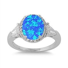 CloseoutWarehouse Tri Princess Center Rainbow Simulated Topaz Cubic Zirconia Ring Sterling Silver 925