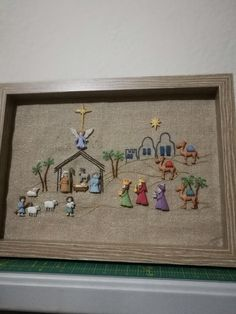 of our most popular crafts this year. Nativity buttons placed in a shadow box frame. Christmas Duck, Christmas Nativity Scene, Christmas Makes, Christmas Villages, Christmas Fabric, Christmas Holidays, Christmas 2019, Christmas Crafts For Gifts, Christmas Projects