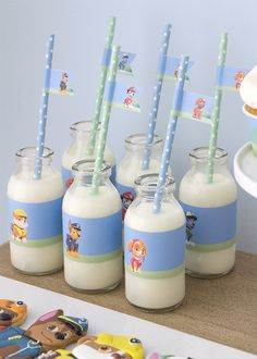 Milk bottle drinks from Paw Patrol Birthday Party with FREE printables at Kara's Party Ideas. See more at karaspartyideas.com!