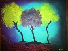 Original abstract acrylic tree painting
