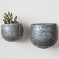Wall Planters, Set of 2 Galvanized Metal