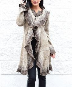 Take a look at this Taupe Ruffle Wool-Blend Duster on zulily today!