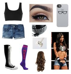 AJ Lee / WWE By: Kelsey C. by kelseyclark70 on Polyvore featuring polyvore, fashion, style, adidas Originals, American Eagle Outfitters, Converse and clothing