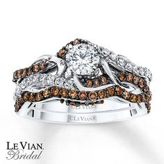 levian chocolate diamonds 58 ct tw ring 14k vanilla gold diamond ring and gold - Chocolate Diamond Wedding Ring Sets