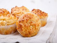 Savory Muffins or Hand Pies : Bake off a batch with bacon or cheese inside for an easy hand-held meal. via Food Network Cheese And Bacon Muffins, Savory Muffins, Savory Snacks, Mini Muffins, Egg Muffins, Cheddar Cheese, Food Network Recipes, Wine Recipes, Cooking Recipes