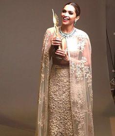 "Superstar #DeepikaPadukone wins the ""Best Female Actor"" award for 'Piku' film at #IIFA 2016 ceremony."