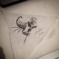 Scorpio Rose Tattoo Design