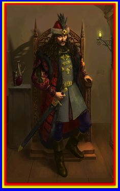 Vlad III Dracula rising from his throne.