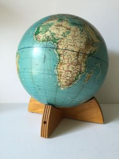 Vtg-60s-Denoyer-Geppert-Cartocraft-Physical-Political-12-World-Globe-w-Stand