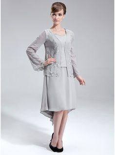 Forme Princesse Col V Traîne asymétrique Mousseline Robe de mère de la mariée avec Emperler