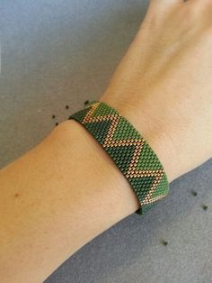 Green and Bronze Peyote Bracelet Beadwork Bracelet от ByElir