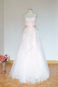 Simple blush A line tulle lace wedding dress Fabric: Tulle Embellishment : Lace Silhouette: A line Neckline: Sweetheart Sleeves: Sleeveless Cute Wedding Dress, White Wedding Dresses, Wedding Dress Styles, Wedding Gowns, Lace Wedding, Long Evening Gowns, Custom Dresses, Tulle Lace, Dress Making