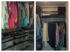 Before & After photos of a closet organization project using a custom closet from Elfa. Organizing completed by The Well-Organized Woman in Atlanta, GA.