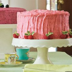 Raspberry Buttercream Frosting | Add fresh raspberries to a classic buttercream frosting and brighten both the flavor and the color of your favorite layer cake or cupcake recipes. Love blackberries? Try our Blackberry Buttercream Frosting too. | SouthernLiving.com