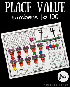 Free place value activity for kindergarten or first grade. Great idea for a number of the day or math center!