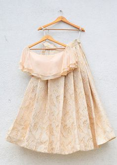 Jacquard brocade lehenga with off shoulder cascade frills crop top (no dupatta included). Indian Gowns, Indian Attire, Indian Wear, Indian Wedding Outfits, Indian Outfits, Indian Clothes, Eid Outfits, Pakistani Outfits, Dress Outfits