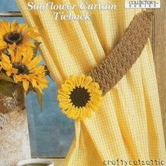 Pair of Curtain Tie Backs Diy Crochet Curtains, Crochet Curtain Pattern, Crochet Decoration, Crochet Home Decor, Crochet Sunflower, Crochet Flowers, Crochet Designs, Crochet Patterns, Free Crochet
