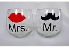 Mr. & Mrs. Stemless Wine Glass Set with Vaudeville Hipster Mustache and Red Lips - TheWeddingMile.com Hipster Mustache, Wine Glass Set, Newlywed Gifts, Wedding Day, Wedding Inspiration, Unique Jewelry, Handmade Gifts, Crafts, Couple Fun