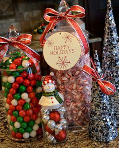 Pretty Sugar for Christmas kitchen decorating, fill glass votive with holiday candy, great display
