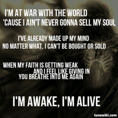 Skillet Awake and Alive lyrics. Band Quotes, Song Lyric Quotes, Music Quotes, Music Lyrics, Gospel Music, Christian Rock Bands, Christian Songs, Skillet Lyrics, Skillet Quotes