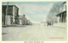 Goodman, Missouri, Main Street, McDonald County, MO, vintage postcard view, antique