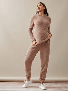 Maternity Drop Shoulder Hoodie Top With Sweatpant Pajama Set Maternity Pajama Set, Pajamas, Sweatpants, Drop, Hoodies, Shoulder, Sweaters, Clothes, Dresses
