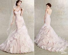 Kitty Chen Bridal - Gorgeous blush ruffled mermaid gown!