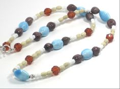 Beaded Necklace Winter Blue Brown White 21 by cynhumphrey on Etsy, $18.99