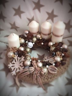 Christmas Candle Decorations, Pine Cone Decorations, Diy Christmas Ornaments, Noel Christmas, Christmas Images, Winter Christmas, Xmas Wreaths, Candle Centerpieces, Diy And Crafts
