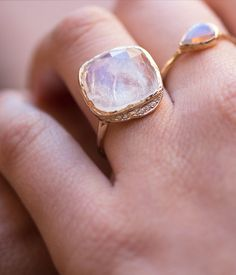 This mouth watering Cove Ring makes you want to dive right in! Featuring your choice of a 15mm Rainbow Moonstone (pictured) or Labradorite gem. #loveaudryrose
