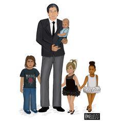 Robert Kardashian with his grandkids, full length version. Reign Disick, Mason Disick, Robert Kardashian, Grandkids, Kylie Jenner, Illustration Art, Illustrations, Jenners, Instagram Posts