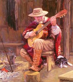 Oil on canvas. the gaucho and his guitar. Cowboy Art, Cowboy And Cowgirl, Graphite Drawings, Art Drawings, Cowboy History, Cowboy Pictures, Cowboy Pics, Music Illustration, West Art