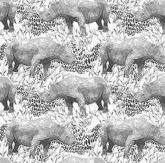Geometric Rhinoceros Fabric - Rhinoceros By Robynie - Black and White Rhinoceros Nursery Decor Cotton Fabric By The Yard With Spoonflower