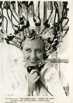 1930s hair salon... sooooo.....ever wonder where the bride of frankenstein idea ever came from?? yes, i'll just electrocute my hair into place...not.