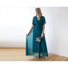 Teal green chiffon maxi dress with bat wings sleeves 1027 - Poppy Co-op Chiffon Maxi Dress, Sheer Chiffon, Bat Wings, Teal Green, Bodice, Feminine, Bridesmaid Dresses, Fabric, Sleeves
